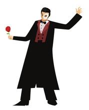 Masked Opera Phantom Actor Singing In Theater