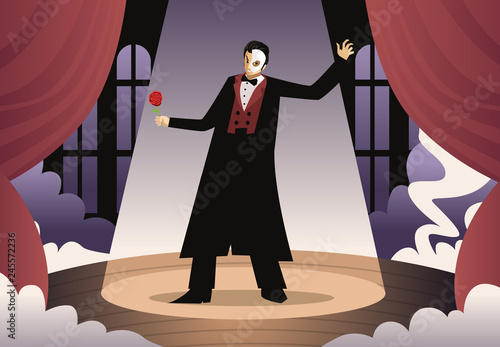 masked opera phantom actor singing in theater Canvas Print