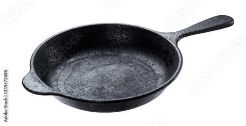 Old cast iron pan isolated on white background Fototapeta
