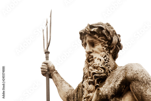 In de dag Historisch mon. The mighty god of the sea and oceans Neptune (Poseidon) The ancient statue isolated on white background.