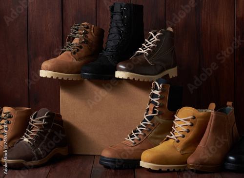 Different shoes with box