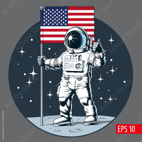 Cuadros en Lienzo Astronaut with american flag stands on moon. Vector illustration.
