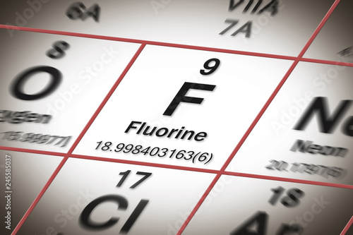Focus on fluorine chemical element - the most important element against tooth decay - concept image with a Mendeleev periodic table