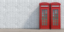 Red Phone Booth On Brick Wall ...