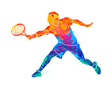 Abstract Tennis Player With A Racket From Splash Of Watercolors