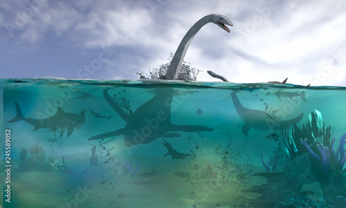 фотография different aquatic dinosaurs render 3d