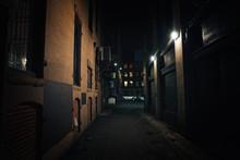 Dark Street. Urban Slums At Ni...