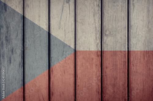 Photo  Czech Republic Politics News Concept: Czech Flag Wooden Fence