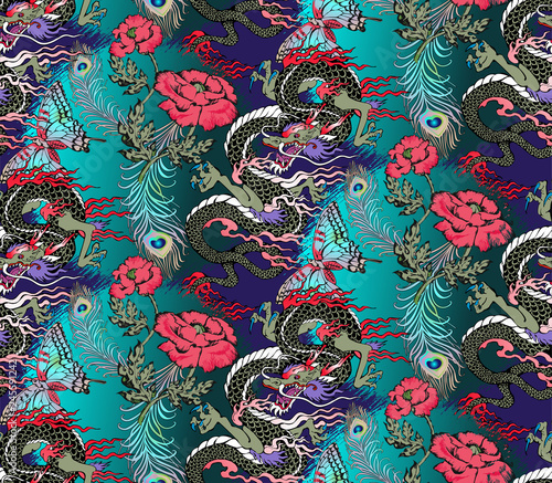 Pattern of asian dragon Fotobehang
