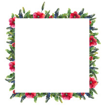 Frame Of Watercolor Wildflowers For Decoration