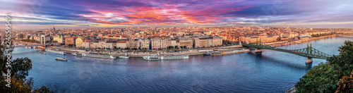 Aluminium Prints Budapest 180 degrees aerial panorama at sunset in the capital city of Hungary, Budapest.