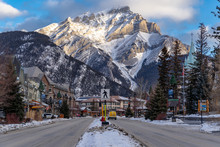 View Of Downtown Banff National Park, A Unesco World Heritage Site, During The Winter. Cascade Mountain In Background