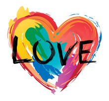 Brush Painted Pride Heart Vector Image