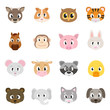 Cute animals collection, set of animal faces. Deer, hamster, owl, tiger, horse, monkey, ect. Isolated vector illustration