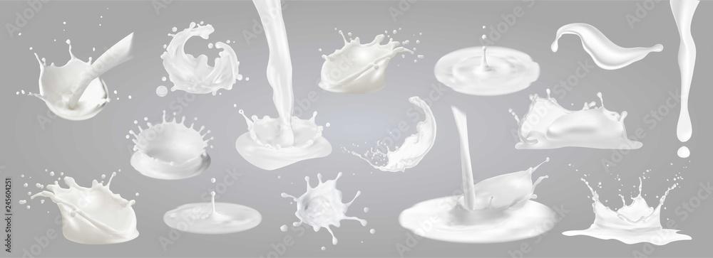 Fototapeta Milk splashes, drops and blots.