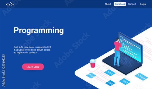 Fotografie, Obraz  Isometric landing page template for programming