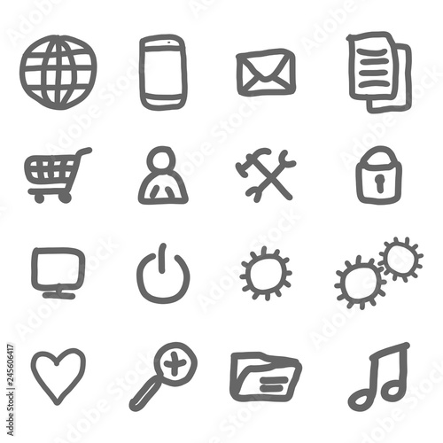 Stampa su Tela  Hand drawn set of internet symbols and infographic elements