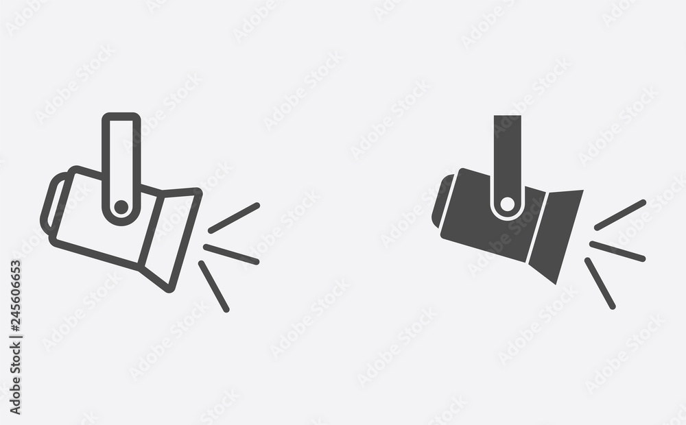 Fototapety, obrazy: Spotlight filled and outline vector icon sign symbol