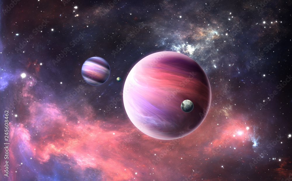 Fototapety, obrazy: Extrasolar planet with atmosphere and moon