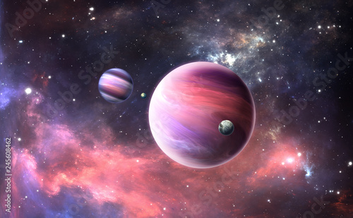 Fototapeta Extrasolar planet with atmosphere and moon