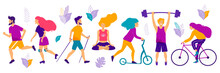 Healthy Lifestyle. Different Physical Activities: Running, Roller Skates, Dancing,  Yoga, Scooter, Nordic Walking. Flat Vector Illustration.