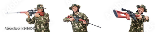 Poster Militaire Soldier with weapons isolated on white