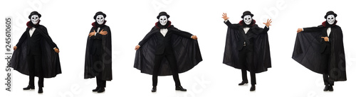 Fototapeta Man with scary mask isolated on white