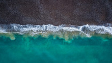 Aerial View Of Waves Hitting T...