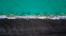 Aerial View Of Waves Hitting The Beach In Fecamp Normandy France
