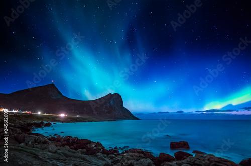 Poster Aurore polaire Northern lights outside Myrland in Flakstad, Lofoten islands