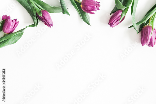 Flowers composition. Purple tulip flowers on white background. Valentines day, mothers day, womens day concept. Flat lay, top view, copy space