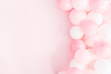 Balloons On Pastel Pink Background. Frame Made Of White And Pink Balloons. Birthday, Valentines Day, Holiday Concept. Flat Lay, Top View, Copy Space