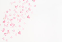 Valentine's Day Background. Pink Hearts On White Background. Valentines Day Concept. Flat Lay, Top View, Copy Space