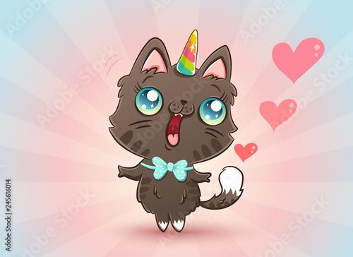 Photo  cute cat in kawaii style