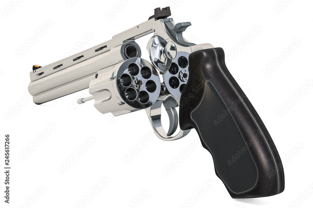 Fototapeta Revolver with opened empty cylinder, 3D rendering