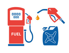 Gas Pump, Nozzle With Fuel Drop, Petrol Jerry Can. Filling Station Icons.