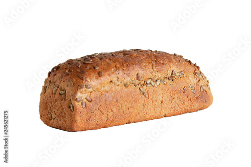 Fotografie, Obraz  Loaf of rye bread with seeds. White isolate Close-up.