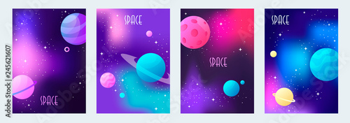 Photo set of space backgrounds