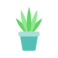 Cute Cactus In Blue Plant Pot Vector Illustration. Isolated Agave Succulent, Web Or Print Icon.