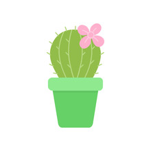 Cute Cactus In Green Plant Pot, Vector Illustration. Isolated Succulent With Pink Flower, Web Or Print Icon.