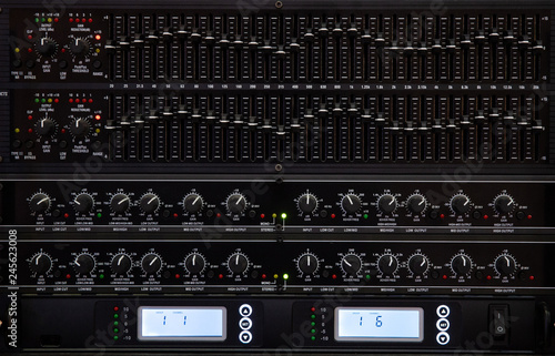 sound system by mixer equalizer in concert or wedding hall