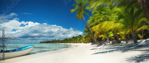 Palm trees and speed boat catamaran on the tropical beach, Dominican Republic. Saona island.
