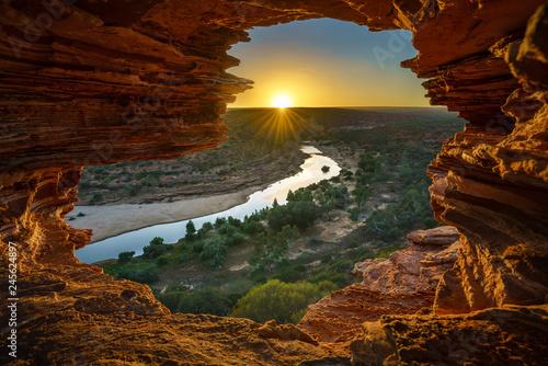 Garden Poster Brown sunrise at natures window in kalbarri national park, western australia 14