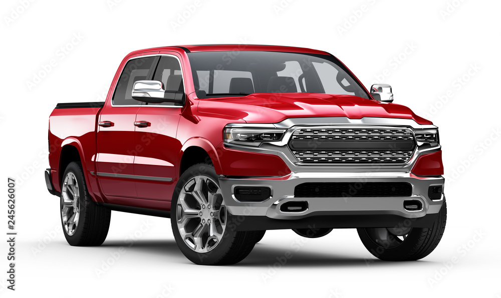 Fototapety, obrazy: Red Pickup Truck isolated on white background