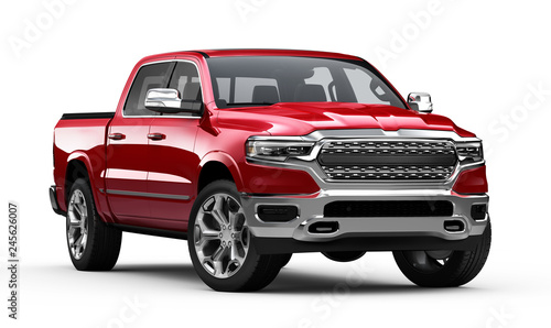 Wall Murals Old cars Red Pickup Truck isolated on white background