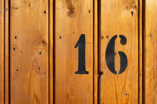 Number 16 On Door Of Storage Room For Tenants In Century-old Apartment Building In Stockholm