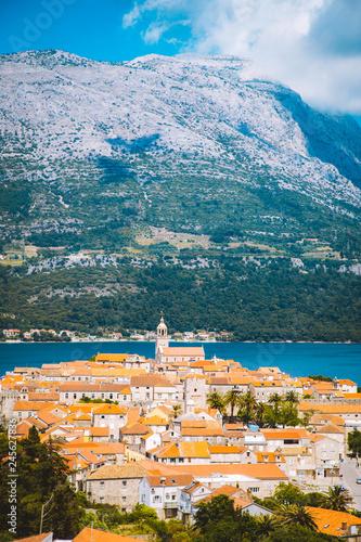 In de dag Centraal Europa Town of Korcula, Dalmatia, Croatia