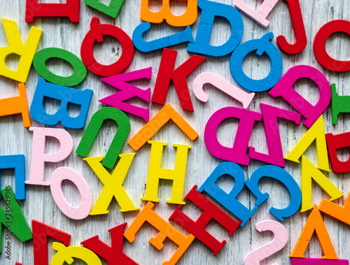 colored letters on a light background. day of knowledge. school. Wall mural