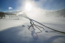 Backlit Snowmaking Gun, Stowe, Vermont, USA