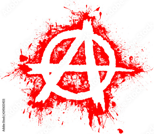 Valokuvatapetti Anarchy symbol in white and background red splashes, splash